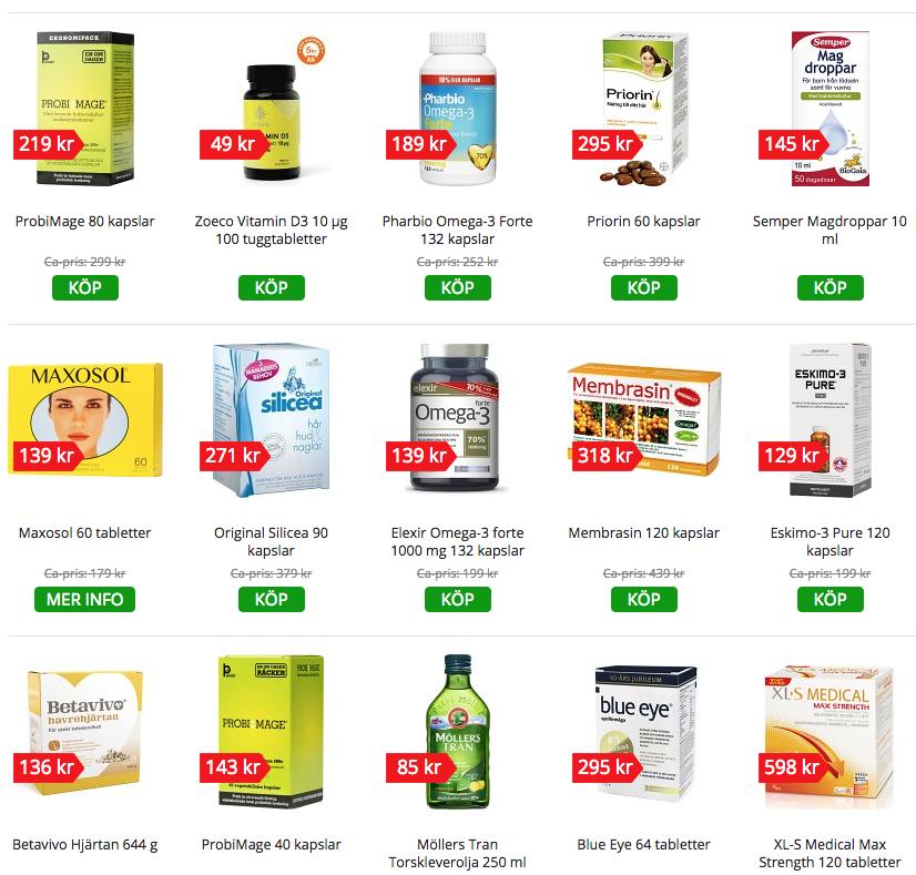 Kosttillskott (vitaminer, mineraler och andra ämnen) som säljs på ett svenskt apotek.